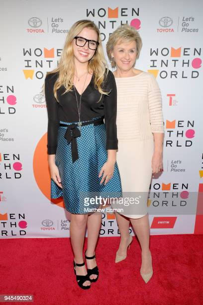 Student activist Delaney Tarr and journalist Tina Brown attend the 2018 Women In The World Summit at Lincoln Center on April 12 2018 in New York City