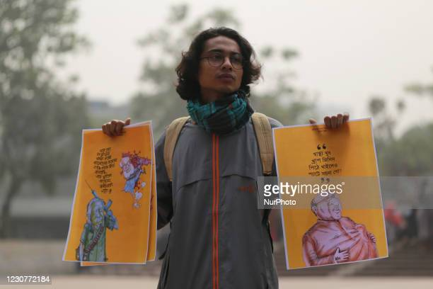 Student activists hold a protest demanding release of a cartoonist and a writer who were detained under the digital security act in Dhaka, Bangladesh...