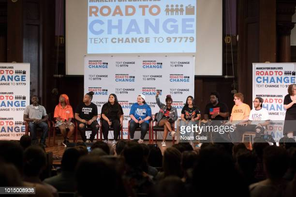"Student activists Luis JH, Sara Mora, Bria Smith, Edna Lizbeth Chavez, Matt Deitsch and Ramon Contreras attend March For Our Lives' ""Road To Change""..."