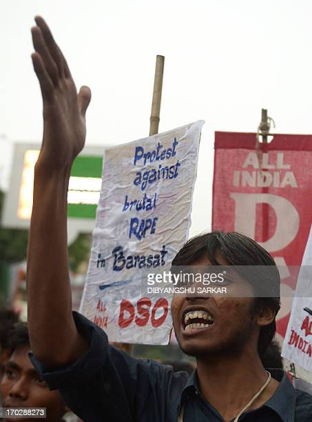 Student activists of proleftist student organisation shout antigovernment slogans as they protest against the recent gangrape and murder of a...