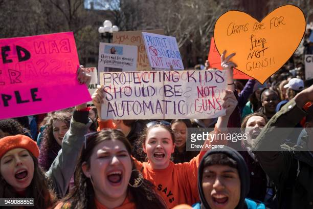 Student activists rally against gun violence at Washington Square Park, near the campus of New York University, April 20, 2018 in New York City. On...