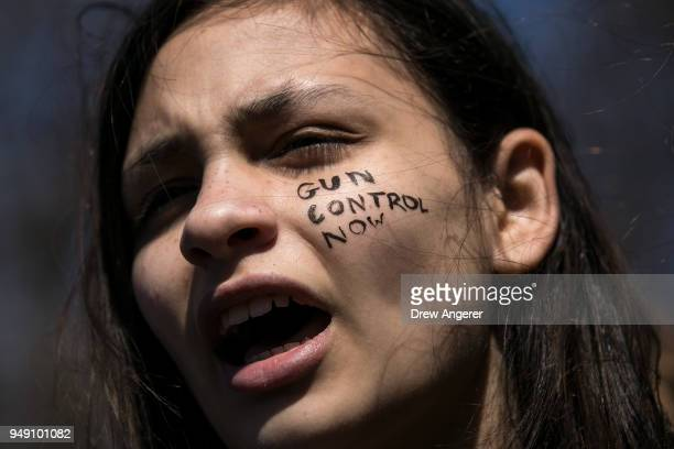 Student activists rally against gun violence at Washington Square Park near the campus of New York University April 20 2018 in New York City On the...