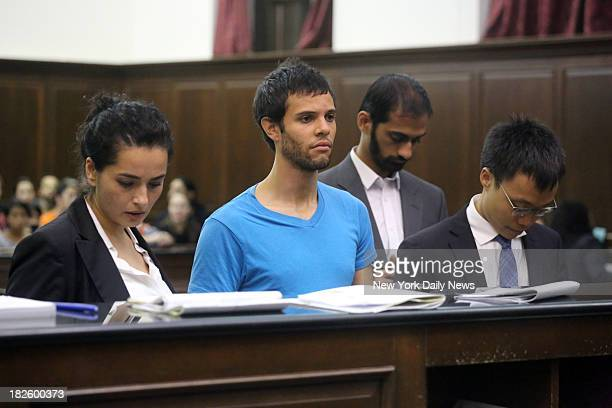 Student Agusitn Castro and his lawyer Lamis Deek in Manhattan Criminal Court Castro was one of six students arrested while protesting against CUNY's...