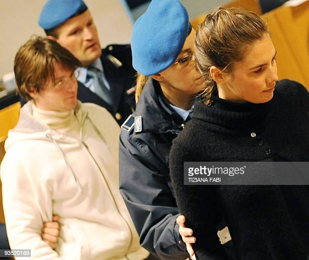 US student Amanda Knox accused of taking part in the killing of her British roommate Meredith Kercher and codefendant Raffaele Sollecito arrive for...