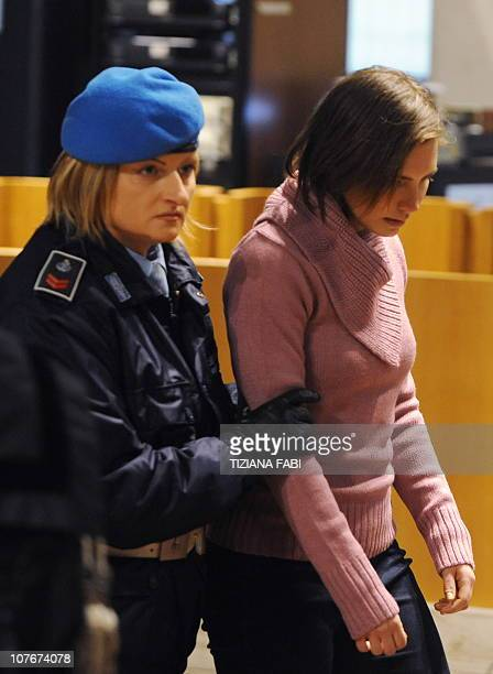 US student Amanda Knox arrives in court before the start of the hearing of her appeal trial in Perugia's courthouse on December 18 2010 Lawyers for...