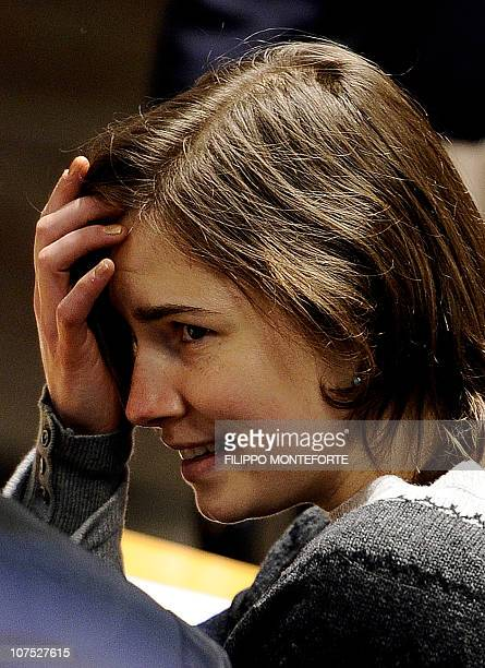 US student Amanda Knox takes place prior the second hearing of her appeal trial in Perugia courthouse on December 11 2010 Lawyers for Amanda Knox the...