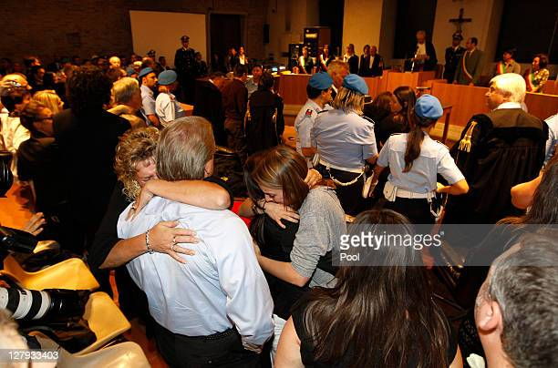 Student Amanda Knox's relatives react as they listen to the verdict that overturns her conviction and acquits her of murdering her British roommate...