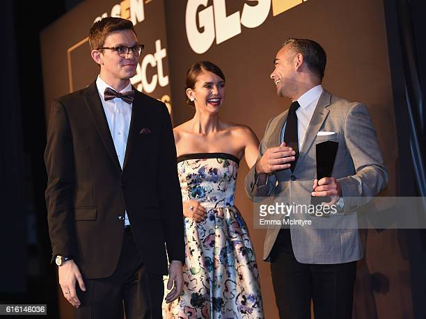 Student Ambassador Matt Nadel actress Nina Dobrev and Senior VP of Brand and Category Marketing of Target Rick Gomez onstage at the 2016 GLSEN...