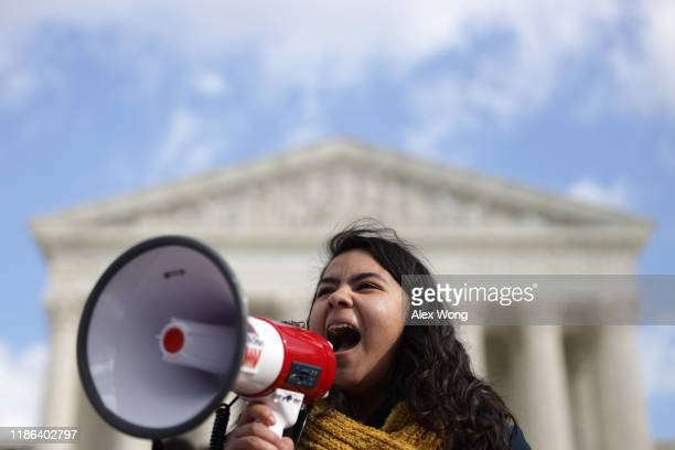 DACA student Anahi Figueroa Flores who attends Georgetown University speaks during a rally defending Deferred Action for Childhood Arrivals in front...