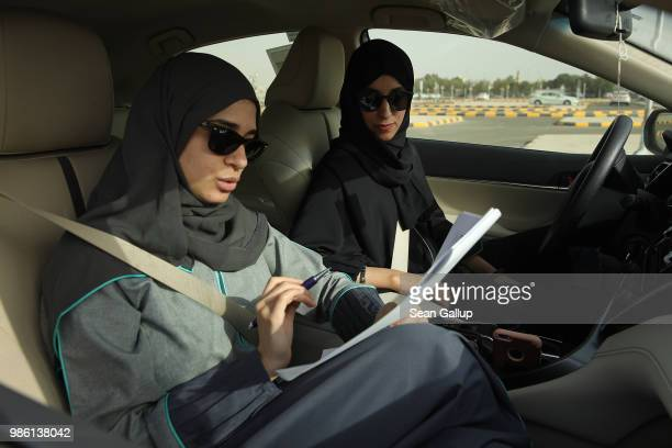 A student and instructor practice driving at the Jeddah Advanced Driving School at King Abdulaziz University the day after women are once again...