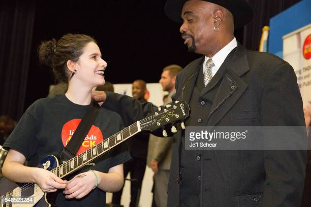 Student and Nick Colionne speak at Chicago Public School Announces Music Program Expansion With Little Kids Rock at Franklin Fine Arts Center...