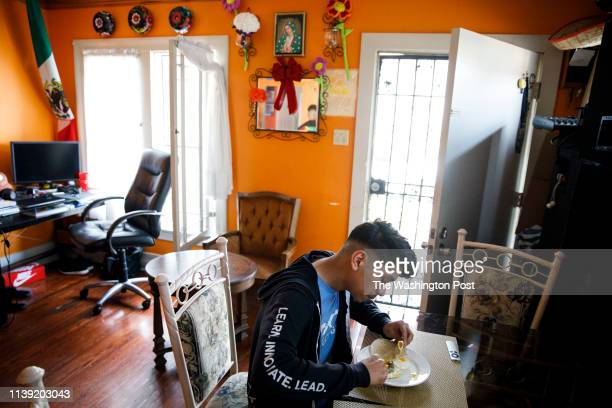 Student Anthony Ramirez eats a snack at home after school on Friday March 22 2019 in the West Adams neighborhood Los Angeles CA Students who applied...