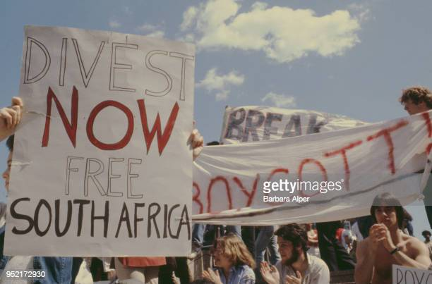 Student anti-Apartheid protesters with placards urging Harvard University to divest itself of investments in South Africa, Cambridge, Massachusetts,...