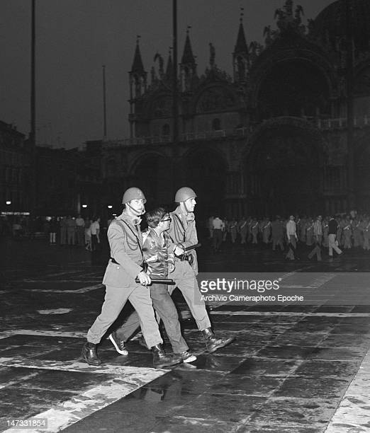 A student arrested in St Mark Square during the demonstration against the Biennale Venice 1968
