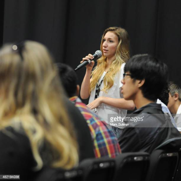 Student asks a question during the GRAMMY Foundations 10th annual GRAMMY Camp held at the University of Southern California on July 15 2014 in Los...