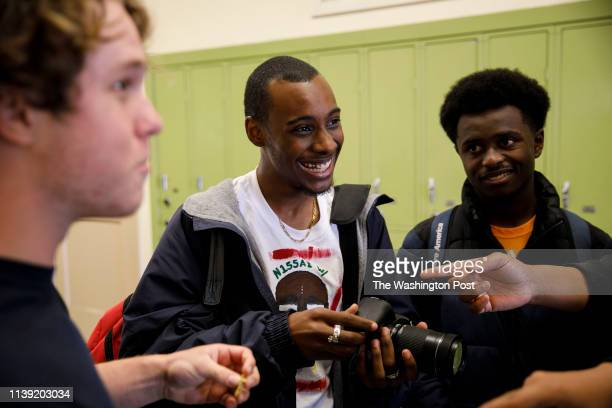 Student Asriel Hayes talks with classmates about their plan for making a short film during class at the Los Angeles Center for Enriched Studies...