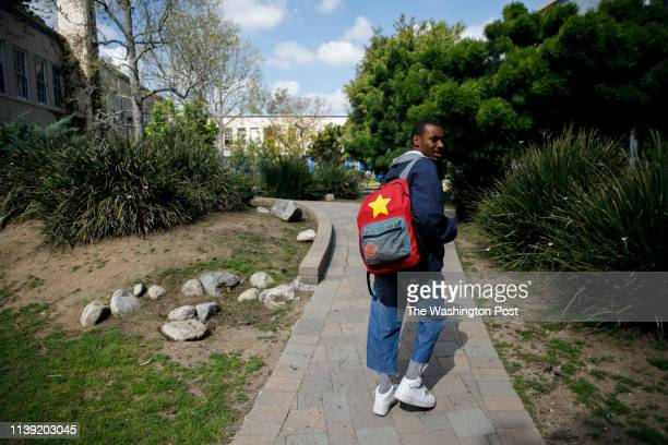Student Asriel Hayes walks on campus at the Los Angeles Center for Enriched Studies school on Friday March 22 2019 in Los Angeles CA Students who...