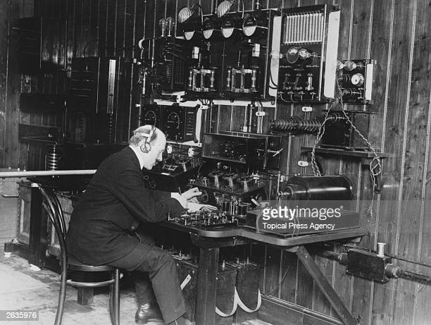 Student at a kilo-watt set during training of operators for wireless telegraphy at Marconi House, London.