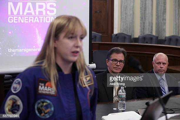 student at The Mars Generation Abigail Harrison speaks as Executive Director for Space at Aerojet Rocketdyne Joe Cassady and senior geologist at the...