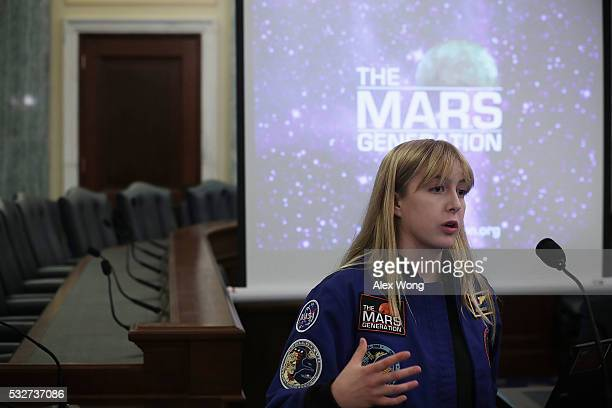Student at The Mars Generation Abigail Harrison speaks during a briefing on Mars May 19 2016 on Capitol Hill in Washington DC Explore Mars Inc held a...