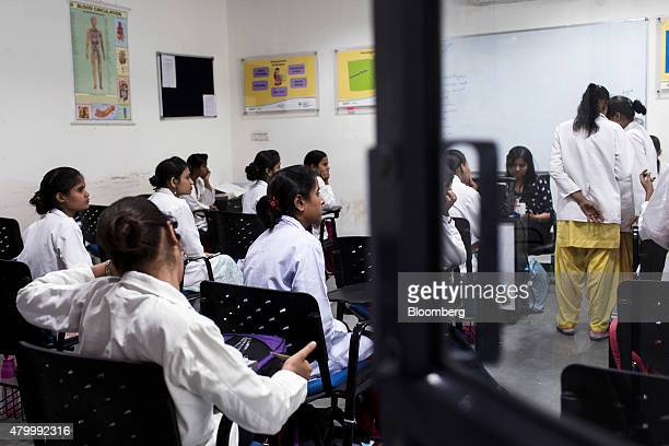 Student attend a general duty assistant nursing class during vocational training at the Infrastructure Leasing Financial Services Institute of Skills...