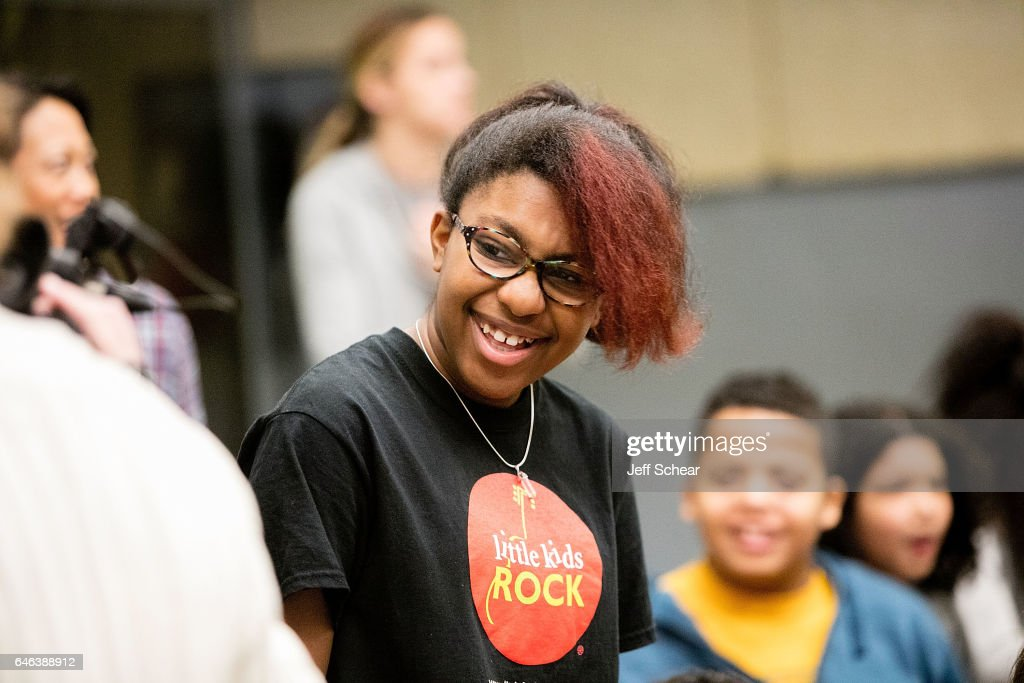 A student attends as Chicago Public School Announces Music Program Expansion With Little Kids Rock at Franklin Fine Arts Center Auditorium on February 28, 2017 in Chicago, Illinois.