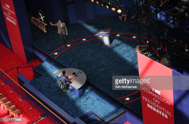 Student Blake Wiseman, a stand-in for U.S. President Donald Trump participates in a rehearsal for the first presidential debate between Trump and...