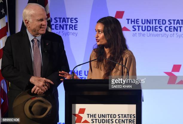 Student Caitlin Gaucci thanks US Senator John McCain for his speech at the United States Studies Centre in Sydney on May 30 2017 Russian President...