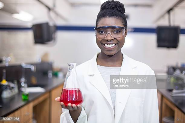 Student chemist studying science