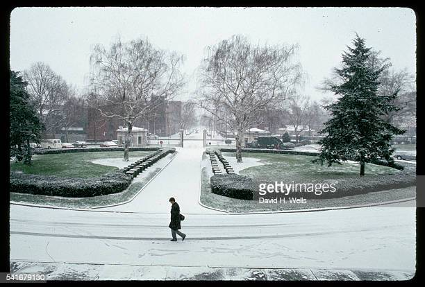 student crossing in snow - girard college stock pictures, royalty-free photos & images