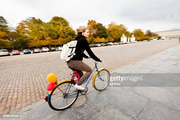 Student cycling in Brussels