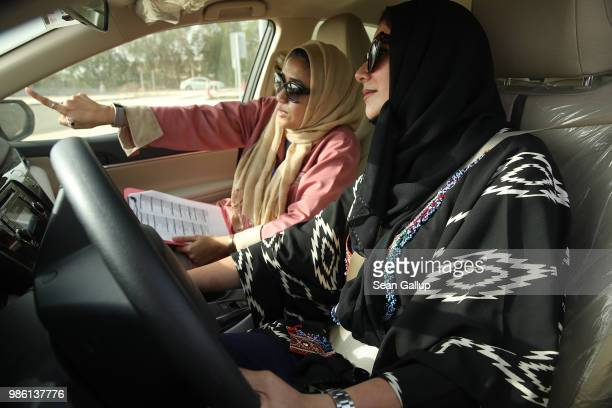 Student Dalia Mufti practices driving with her instructor Heba Shaker at the Jeddah Advanced Driving School at King Abdulaziz University the day...