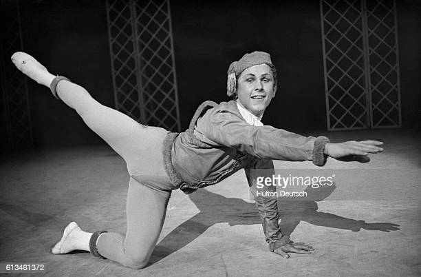 Student dancer Wayne Sleep rehearses his lead part Blue Boy in Les Patineurs for the Royal Ballet School's Matinee performance