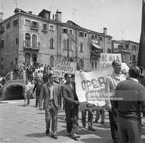 A student demonstration against the Biennale Giardini Venice 1968