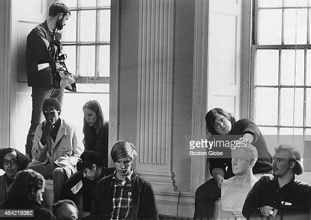 Student demonstrations during the turbulent 60's inside Harvard's University Hall