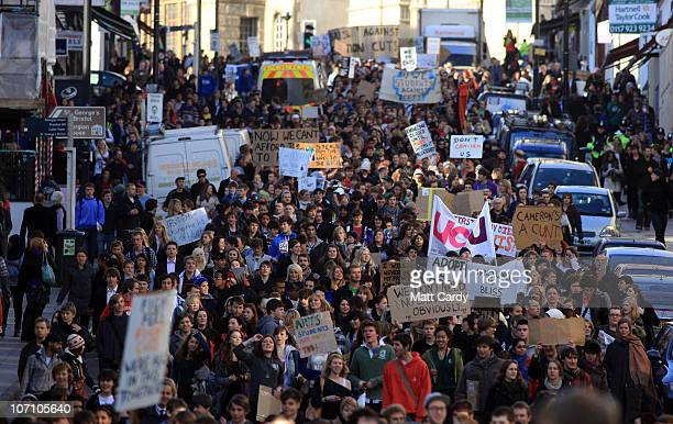 Student demonstrators march down Park Street during a protest against the rise in tuition fees on November 24 2010 in Bristol United Kingdom This is...