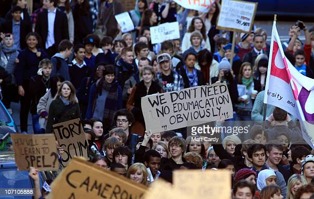 Student demonstrators march during a protest against the proposed rise in tuition fees on November 24 2010 in Bristol United Kingdom This is the...