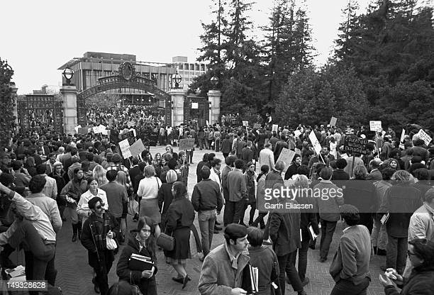 Student demonstrators set up a picket line at the Sather Gate entrance to the University of California Berkeley California early 1969 Student groups...