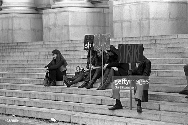Student demonstrators sit on the steps to Sproul Hall during a demonstration at the University of California, Berkeley, California, January 8, 1969....
