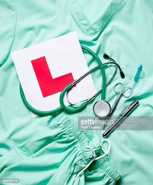 Student Doctors scrubs with L  plates.