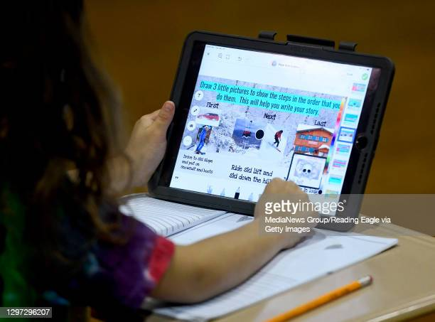 Student does her school work on an iPad. At the Mulberry Street location of the Olivet Boys and Girls Club in Reading Tuesday morning January 19,...