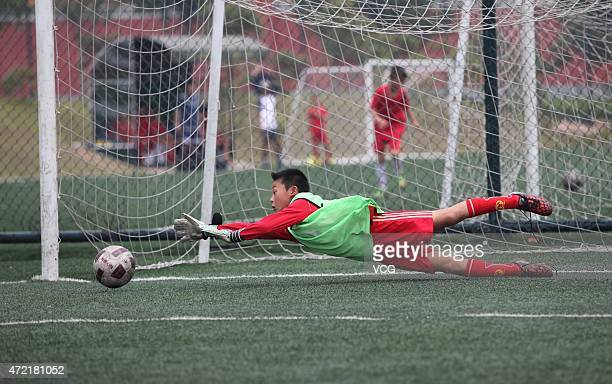 Student during a training session at Evergrande Football School on April 29 2015 in Qingyuan Guangdong Province of China Evergrande Football School a...