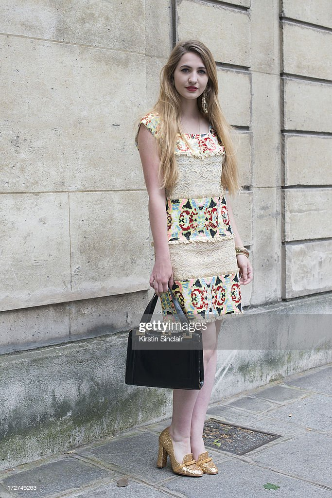 Student Elisa Bourdoin wears a Manoush dress, vintage bag, and Mellow Yellow shoes on day 3 of Paris Collections: Womens Haute Couture on July 03, 2013 in Paris, France.