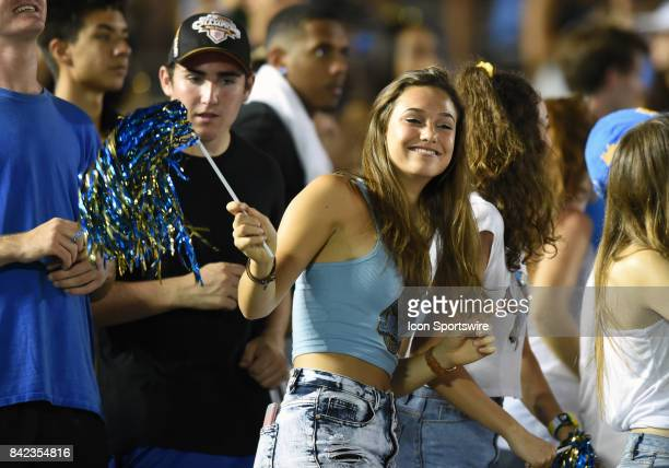 UCLA student fan during a college football game between the Texas AM Aggies and the UCLA Bruins on September 03 2017 at the Rose Bowl in Pasadena CA