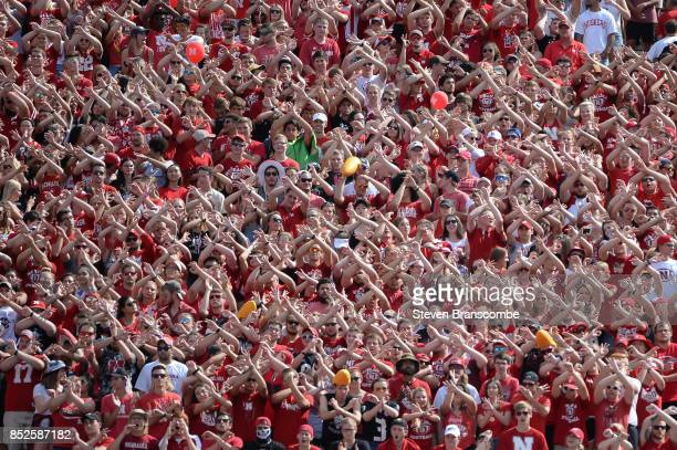 Student fans of the Nebraska Cornhuskers celebrate a stop against the Rutgers Scarlet Knights at Memorial Stadium on September 23 2017 in Lincoln...