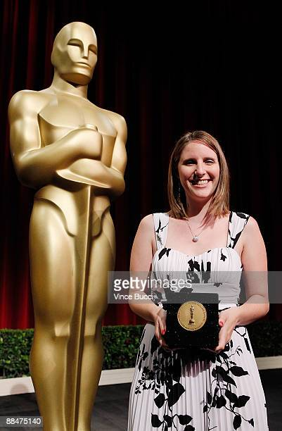 Student filmmaker Lauren DeAngelis from American University in Washington DC poses prior to the 36th Annual Student Academy Awards at The Motion...