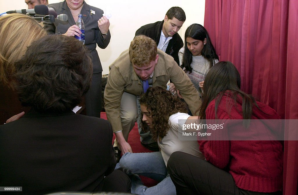 A student from a Montgomery Co. high school fainted and was helped out of the room by Michah Behrend, 17, who was one of the speakers at the press conference in the Rayburn building Thursday morning. The press conference was held by MADD to encourage NBC and other advertisers and media outlets, to encourage alcohol advertisers to gear their ads toward a more mature audience, not underage drinkers.