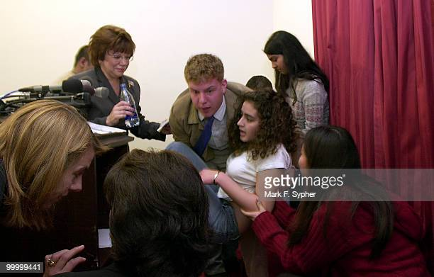 A student from a Montgomery Co high school fainted and was helped out of the room by Michah Behrend who was one of the speakers at the press...