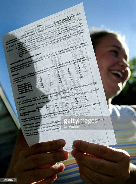 A student from Cardinal Vaughan Memorial School smiles as she receives her Alevel results August 14 2003 in London England The results published...