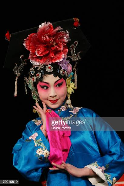 A student from the Peking Opera Department of the Jilin College of the Arts performs Peking Opera Silang Visits His Mother on January 14 2008 in...
